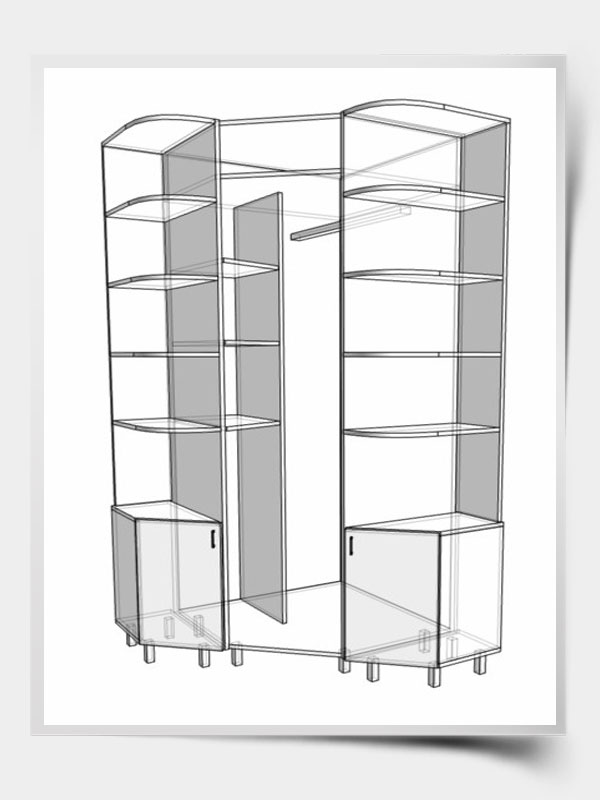 угловой шкаф с распашной дверью